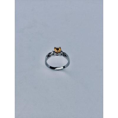 White Gold Diamond And Citrine Ring
