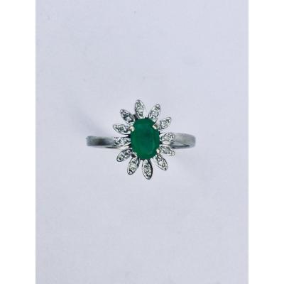 Bague Marguerite Or Emeraude Et Diamants