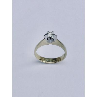 Solitaire In Yellow Gold And Diamond