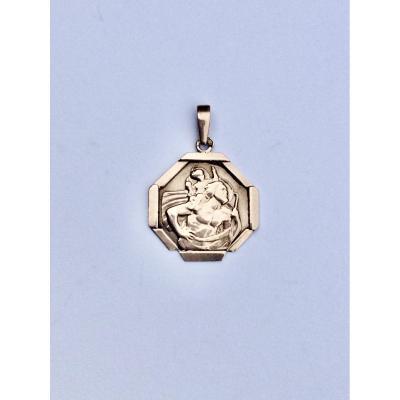 Médaille Saint Christophe Or Rose