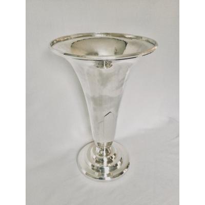Georges Lecomte Art Deco Silver Vase