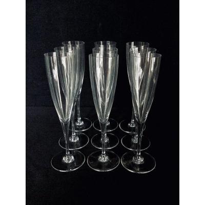 9 Baccarat Crystal Champagne Flutes Dom Pérignon Model