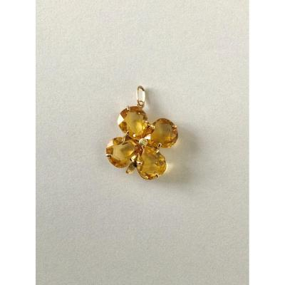 Gold And Citrine Clover Pendant