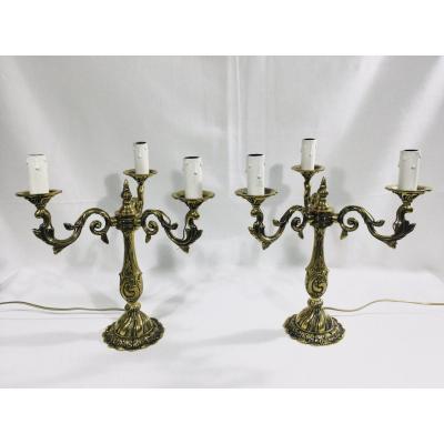 Paire De Girandoles 3 Lumières En Bronze