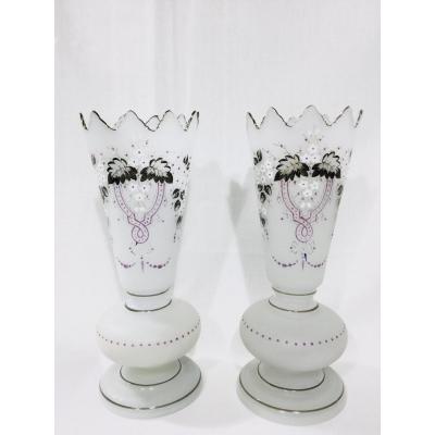 Pair Of Napoleon III Opaline Vases