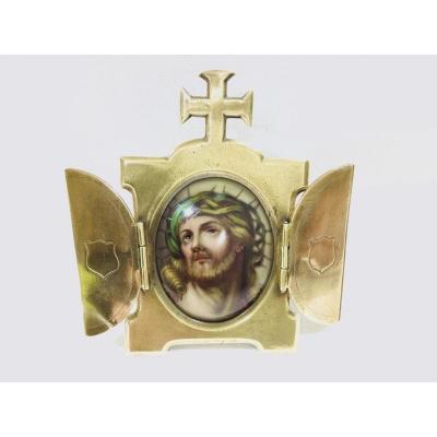 Reliquaire Bronze Et Porcelaine