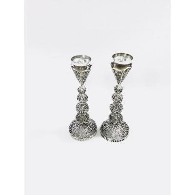 Pair Of Small Silver Candlesticks