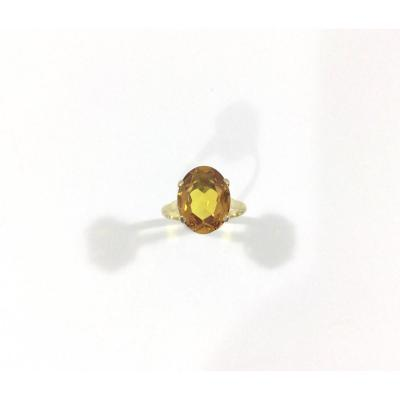 Ring In Yellow Gold And Orange Citrine