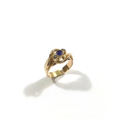 Art Nouveau Ring In Rose Gold Sapphire And Pearls