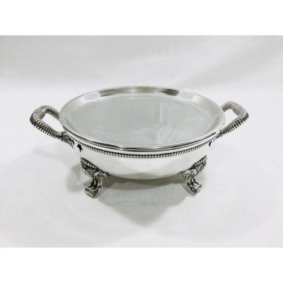Odiot - Round Dish Warmer In Lined Metal 19th