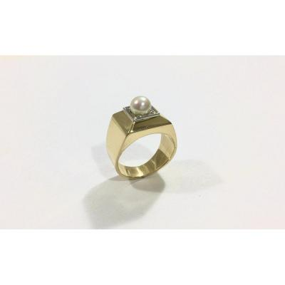 Gold And Pearl Art Deco Ring