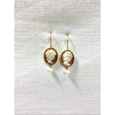 Paire De Boucles d'Oreilles En Or, Camées Et Perles
