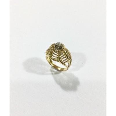 Art Nouveau Ring In Gold And Diamond