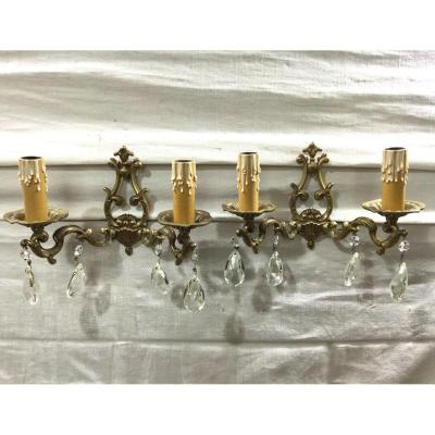 Pair Of Bronze And Crystal Wall Sconce 2 Lights