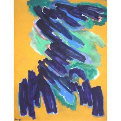 Robert Helman (1910-1990) Grande Huile Sur Toile De 1974 Germination 162x130 Cm