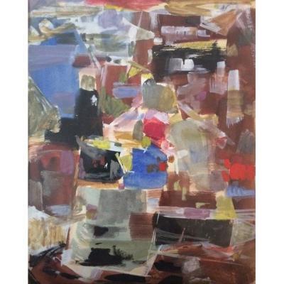 Hella Guth (1908-1992) Composition 1958 Gouache Sur Papier