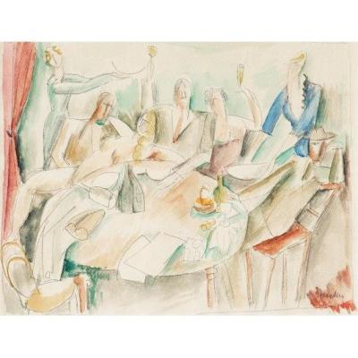 Henri Hayden (1883-1970) Très Rare Composition Cubiste Vers 1914 Scène De Cabaret