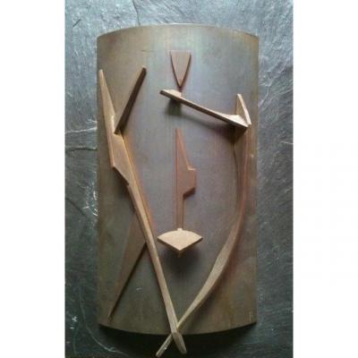 Robert Fachard (1921-2012) Relief De 1960  Fer Sur Plaque d'Ardoise