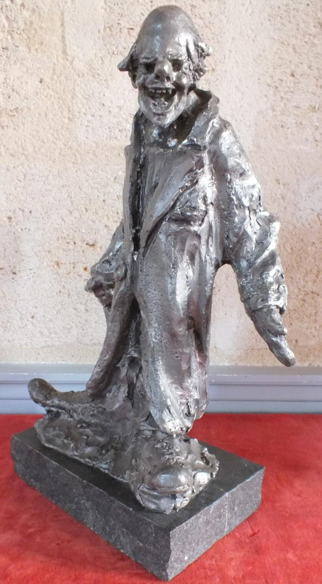 Clown Sculpture Lost Wax Tin Ernest De Patris 1909 - 1981