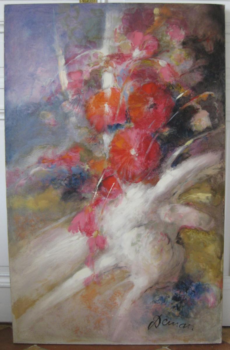 Huile Sur Toile  Tableau Bouquet De Albert Deman
