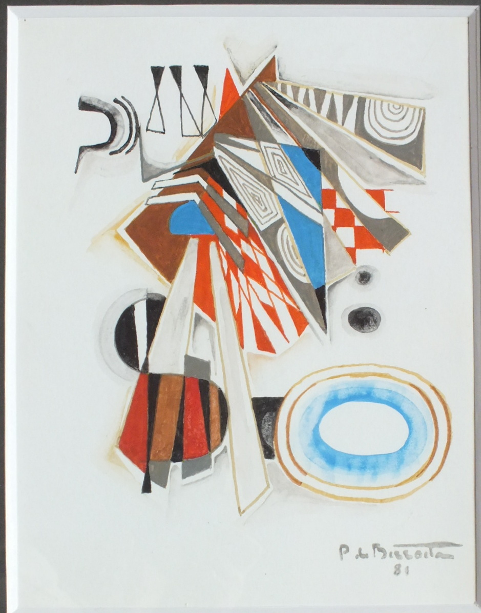 Pierre De Berroeta Table Abstract Gouache 1981