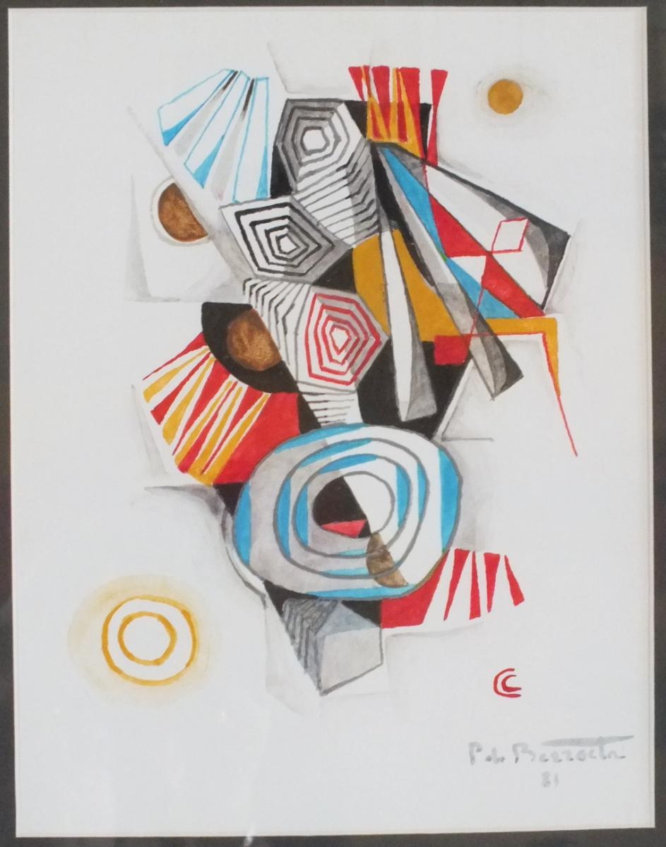 Pierre De Berroeta Table Abstract Gouache And Watercolor From 1981