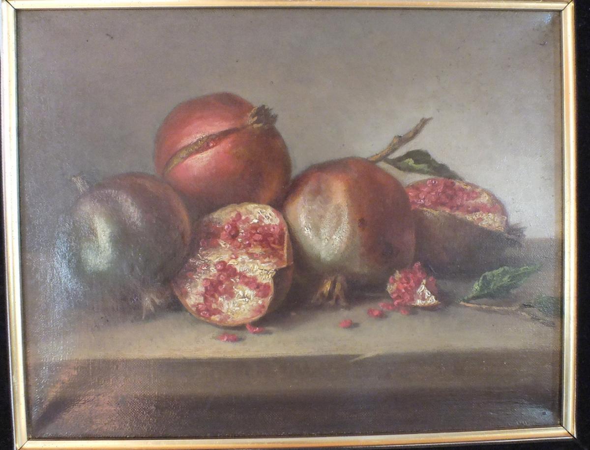 2 Natures Mortes Hst Huile Sur Toile 19eme De L.cholet 1896-photo-3