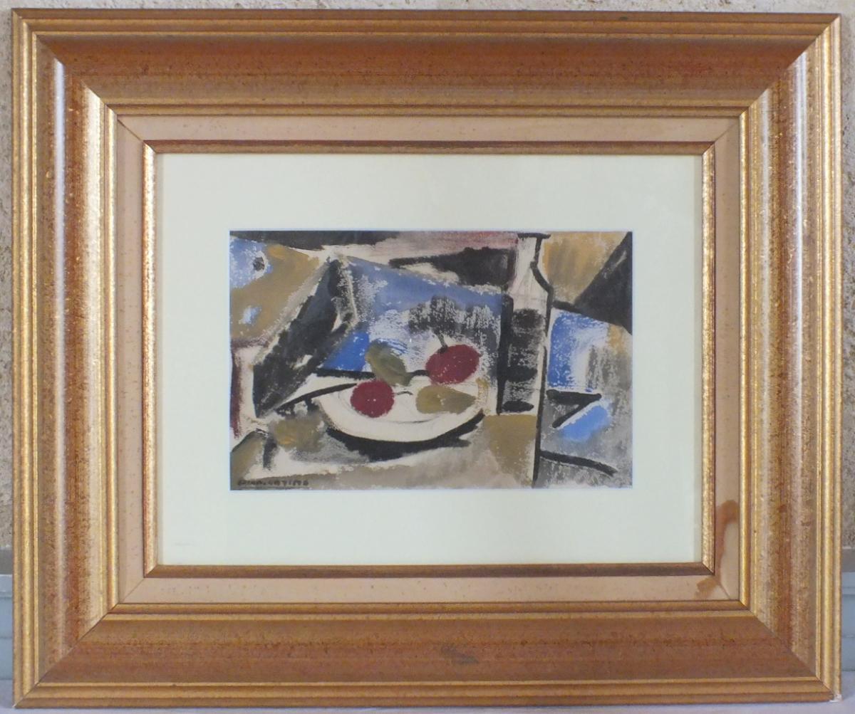 "Gouache De Diamantino Riera ""hommage à Picasso"""