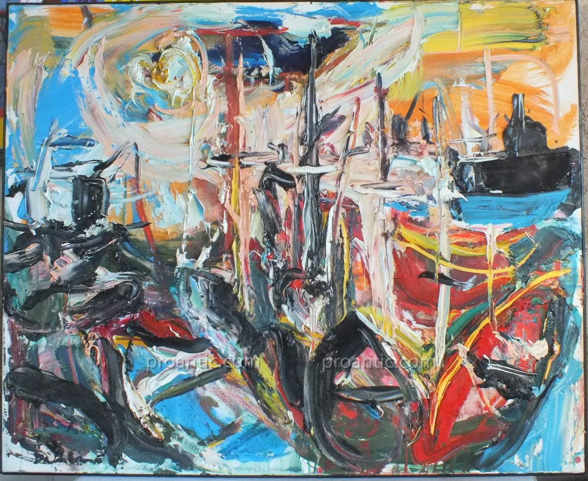 Oil On Canvas Port Nice Damiano (1926-2000) Painting Painting 100 X 81