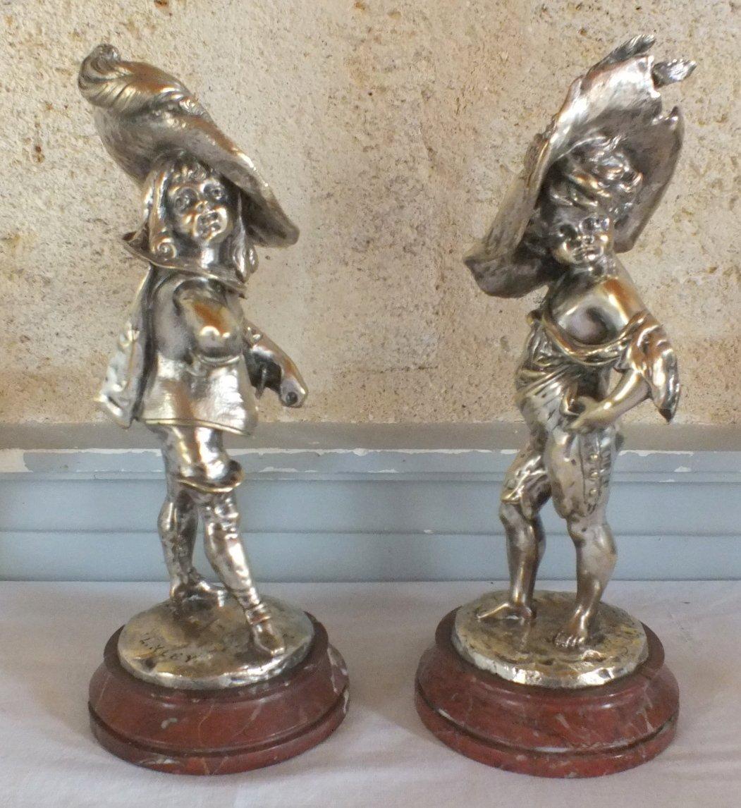 Two Bronzes Louis Kley Children Musketeers