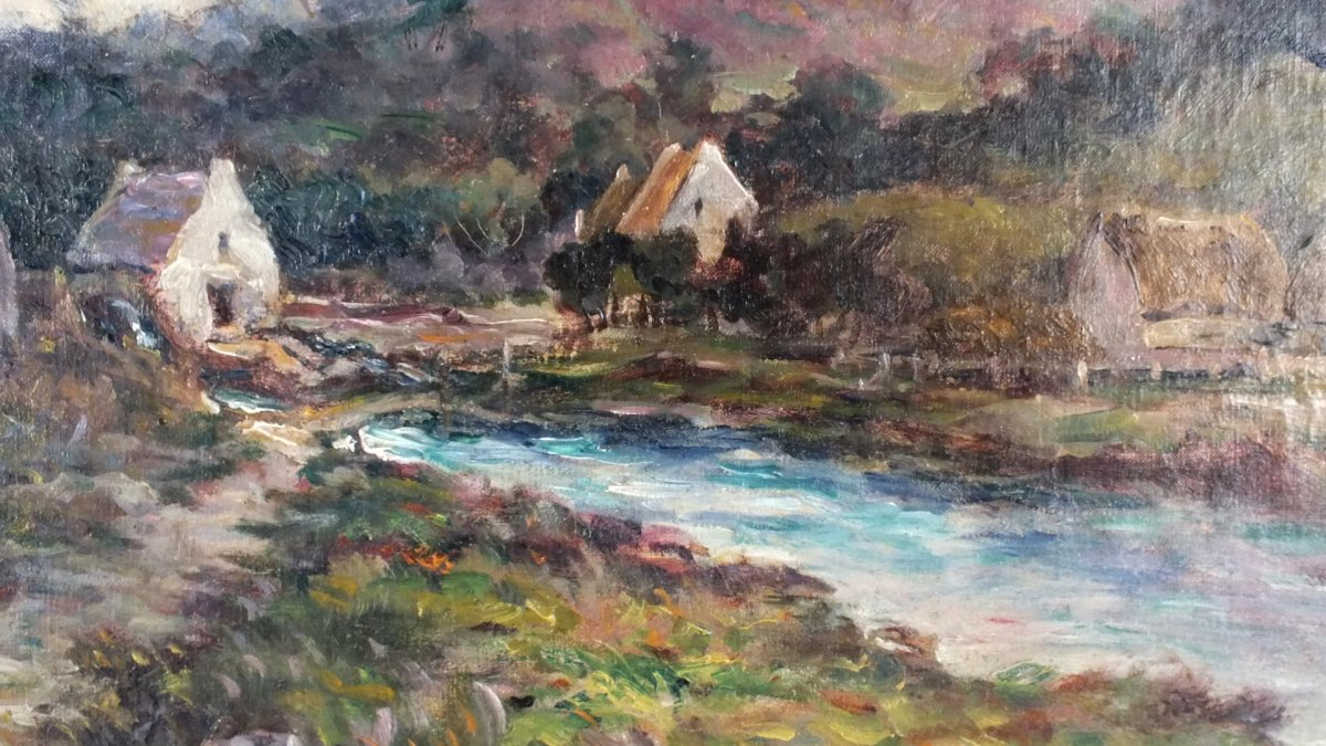 Hst Albert Lenfant Arz Elven Bretagne Peinture Tableau-photo-4