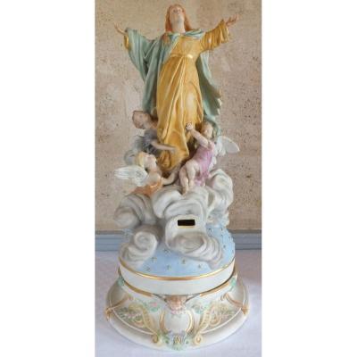 Tronc De Chapelle Porcelaine Biscuit 19ème Polychrome