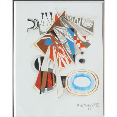 Pierre De Berroeta Tableau Abstrait Gouache 1981