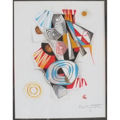Pierre De Berroeta Tableau Abstrait Gouache Et Aquarelle De 1981