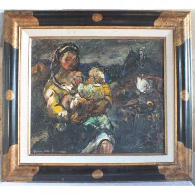 Hst Huile Sur toile Maurice Vagh Weinmann Maternité Peinture Tableau