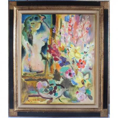 Femme Au Bouquet Huile Sur Toile De Klimek (1912-1992)
