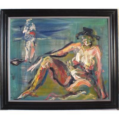 Hst Huile Sur Toile Bernard Damiano (1926-2000) Peinture Tableau