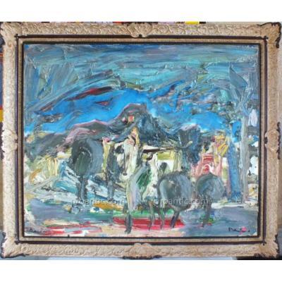 Huile Sur Toile Damiano (1926-2000) Peinture Tableau 100 X 81