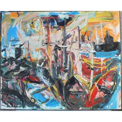 Huile Sur Toile Port Nice Damiano (1926-2000) Peinture Tableau 100 X 81