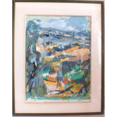 Gouache Jean Hugon (1919-1990)