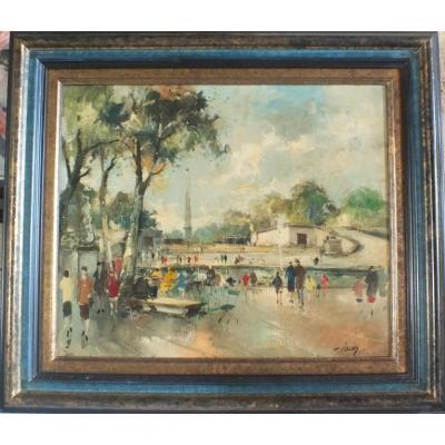 Hst Huile Par Fernand Claver Les Tuileries
