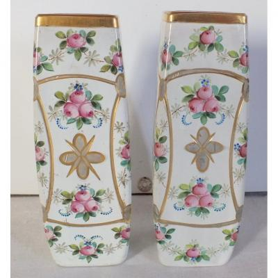 Pair Of Engraved Enamelled Gold Flowers Vases