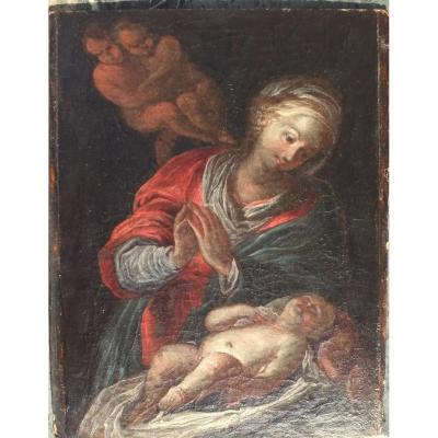 Hst 17th Virgin And Child Painting