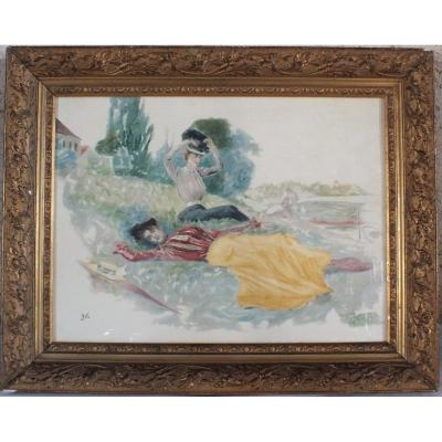 Watercolor Georges d'Espagnat La Sieste