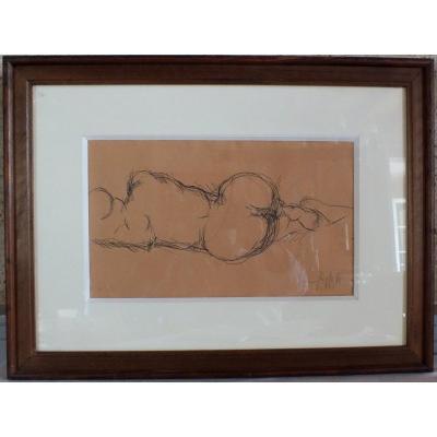 Nude Drawing Jakob Schwarzkopf Indian Ink Painting