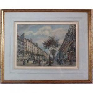 Watercolor Gouache Paris The Boulevard Des Italiens