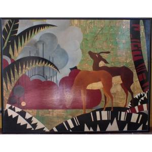 Large Art Deco Panel Gold Leaf Lacquer And Silver Leaf