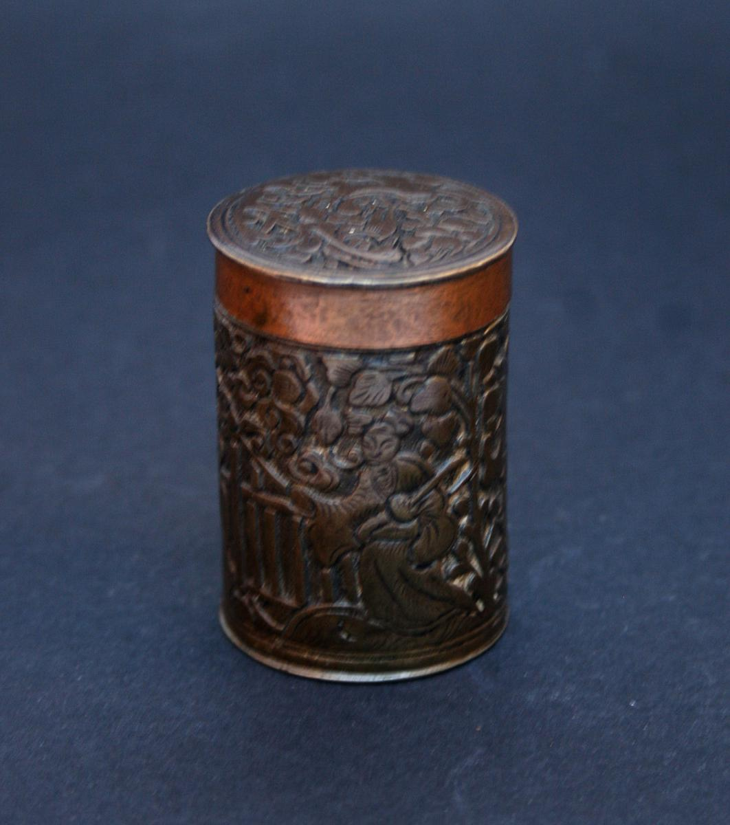 Antique Chinese Copper Bronze Engraved Opium Container Box