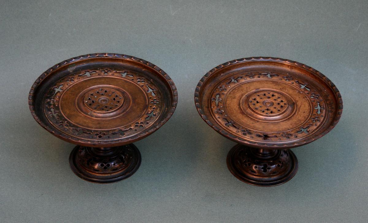 Paire Antique Bronze Francais Tazza En Islamique Style Eugene Cornu Signe