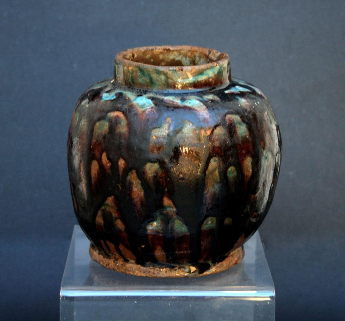 Ancien Vase Perse En Céramique Barbotine Islamique Style Chinois Tang